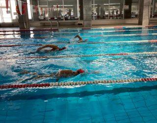 Primera competición de natación